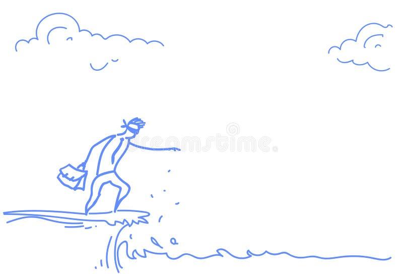 Businessman blind standing cliff gap abyss crisis risk concept sketch doodle. Vector illustration stock illustration