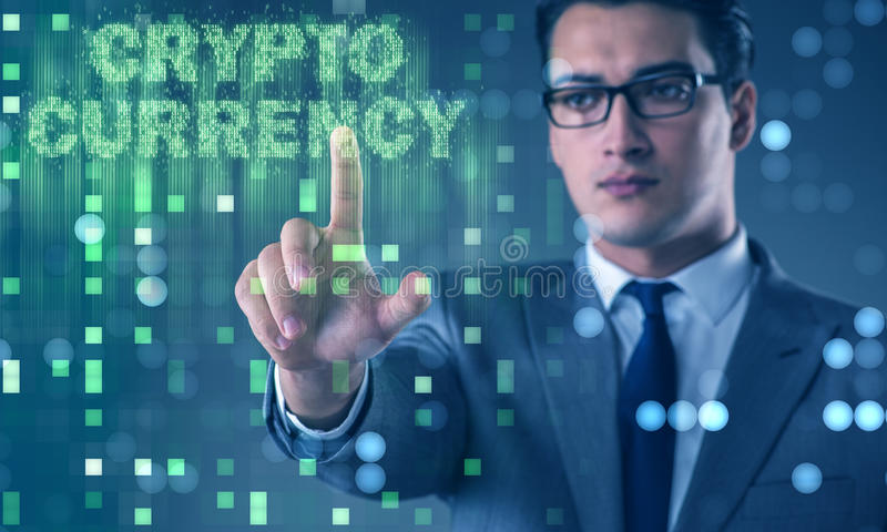 The businessman in blockchain cryptocurrency concept stock photos