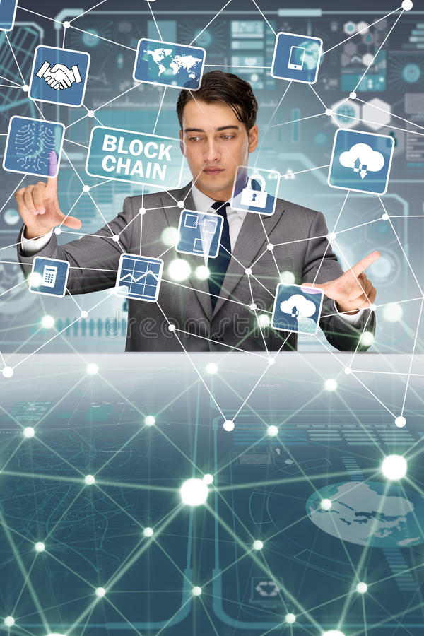 The businessman in blockchain cryptocurrency concept royalty free stock photos