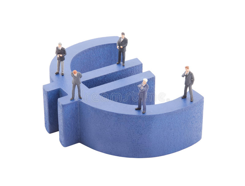 Download Businessman On Blue Euro Symbol Stock Image - Image: 23193761