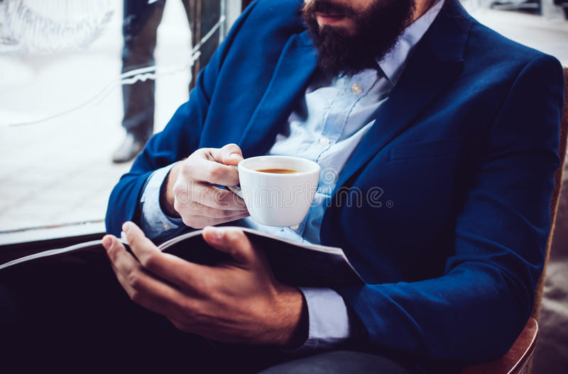 Businessman in a blue jacket stock image
