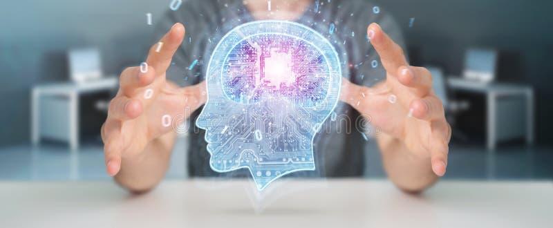 Businessman creating artificial intelligence 3D rendering. Businessman on blurred background creating artificial intelligence 3D rendering stock illustration