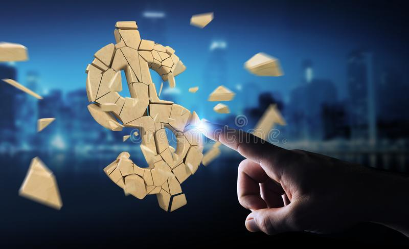Businessman with exploding dollar currency 3D rendering royalty free illustration