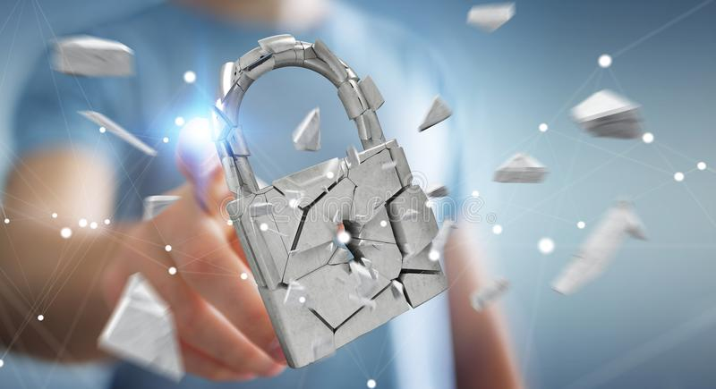 Businessman hacking in broken padlock security 3D rendering vector illustration