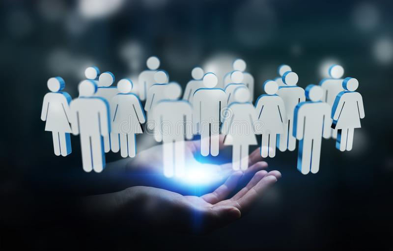 Businessman holding 3D rendering group of people in his hand vector illustration