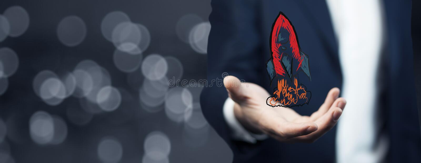 Rocket in hand. Businessman on blurred background holding red hand drawn rocket in his hand vector illustration