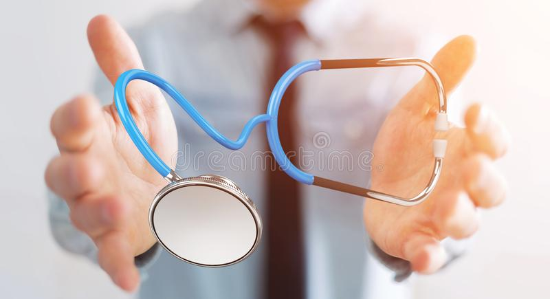Businessman holding and touching floating stethoscope 3D rendering. Businessman on blurred background holding and touching floating stethoscope 3D rendering vector illustration
