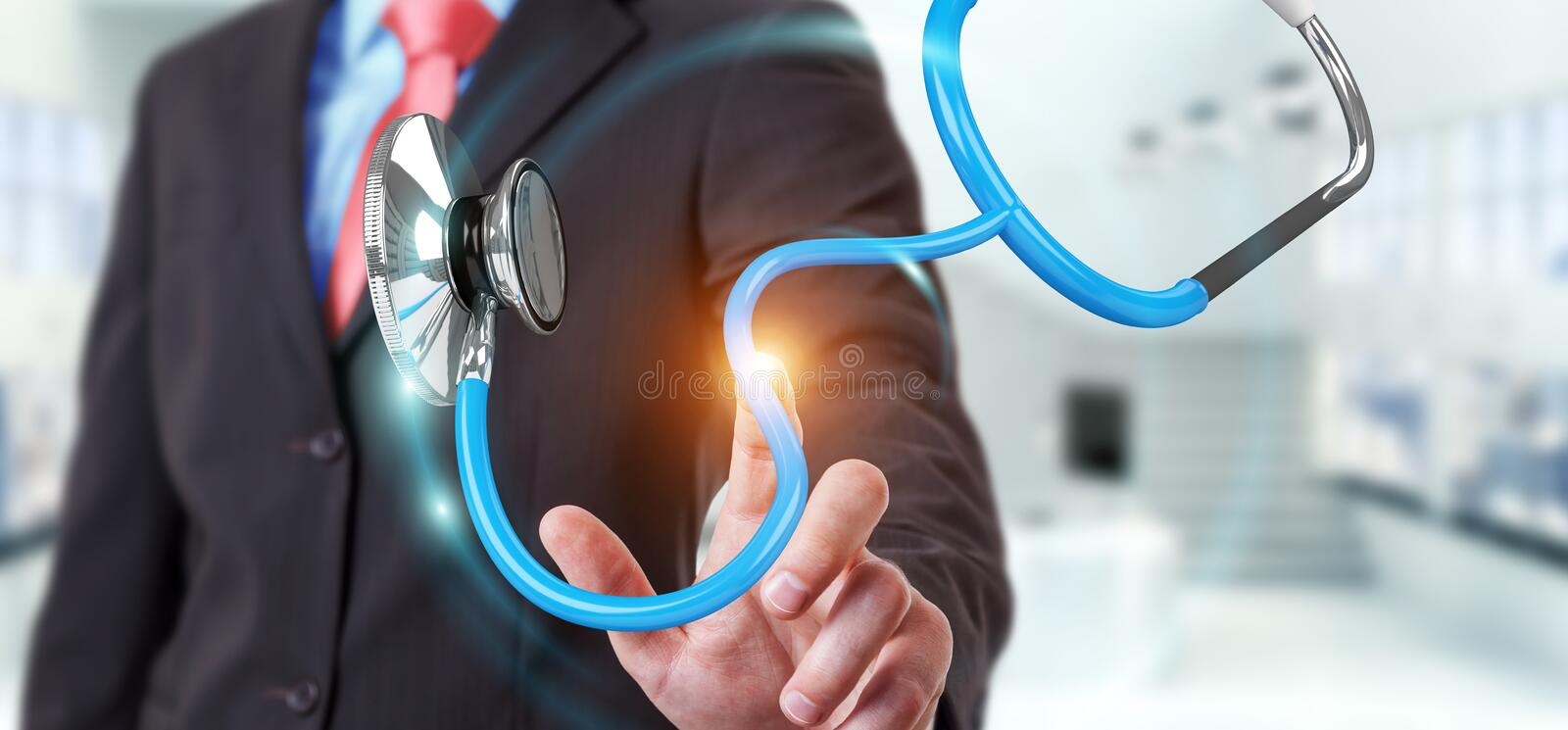 Businessman holding and touching floating stethoscope 3D renderi. Businessman on blurred background holding and touching floating stethoscope 3D rendering royalty free illustration
