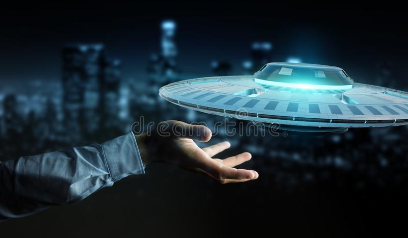 Businessman with retro UFO spaceship 3D rendering vector illustration