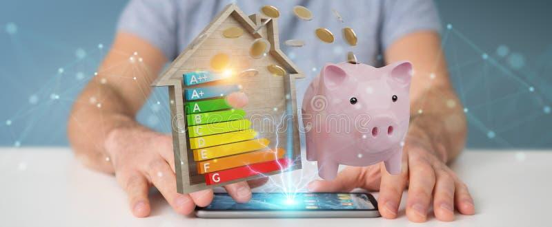 Businessman saving money with good energy chart rating 3D render stock illustration