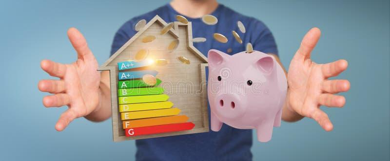 Businessman saving money with good energy chart rating 3D render. Businessman on blurred background saving money with good energy chart rating 3D rendering stock illustration