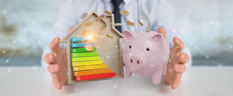 Businessman saving money with good energy chart rating 3D render. Businessman on blurred background saving money with good energy chart rating 3D rendering vector illustration