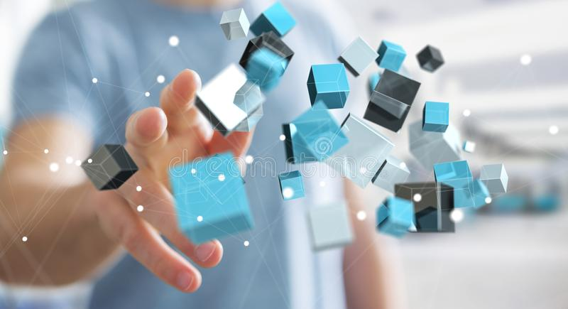 Businessman touching floating blue shiny cube network 3D rendering stock illustration