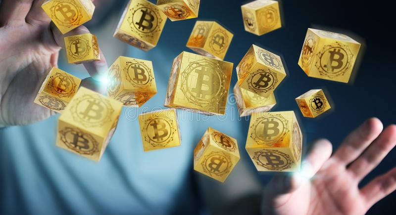 Businessman using bitcoins cryptocurrency 3D rendering. Businessman on blurred background using bitcoins cryptocurrency 3D rendering vector illustration