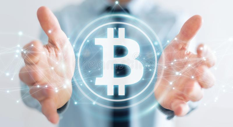 Businessman using bitcoins cryptocurrency 3D rendering. Businessman on blurred background using bitcoins cryptocurrency 3D rendering royalty free illustration