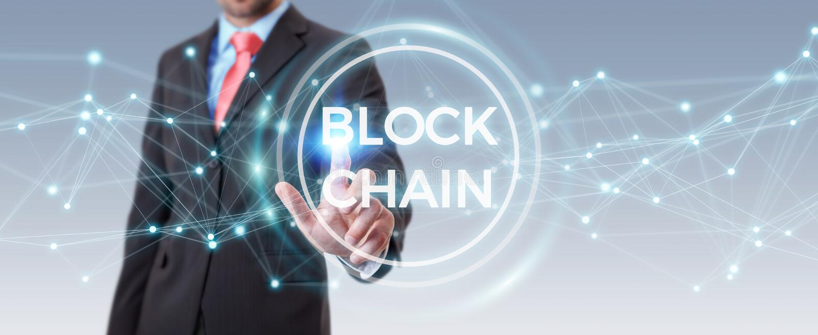 Businessman using blockchain cryptocurrency interface 3D rendering. Businessman on blurred background using blockchain cryptocurrency interface 3D rendering vector illustration
