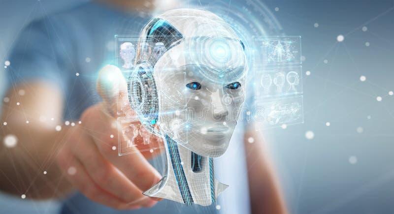 Businessman using digital artificial intelligence interface 3D r. Businessman on blurred background using digital artificial intelligence interface 3D rendering vector illustration