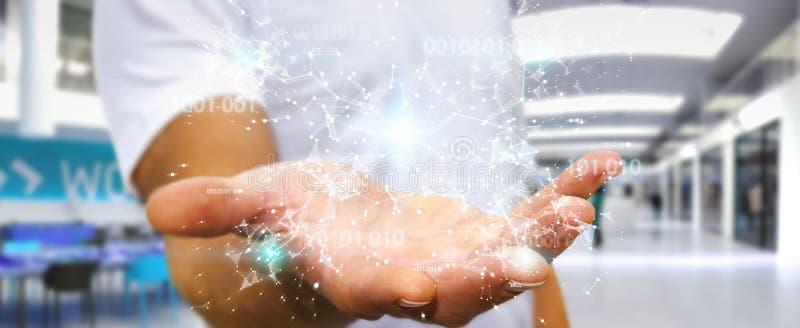 Businessman using digital binary code connection network 3D rendering. Businessman on blurred background using digital binary code connection network 3D vector illustration
