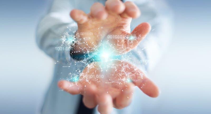Businessman using digital binary code connection network 3D rendering. Businessman on blurred background using digital binary code connection network 3D stock illustration