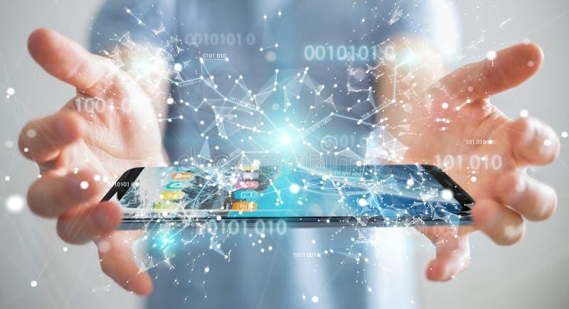 Businessman using digital binary code on mobile phone 3D rendering royalty free illustration