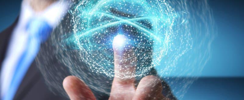 Businessman using digital network connection sphere 3D rendering. Businessman on blurred background using digital network connection sphere 3D rendering royalty free illustration