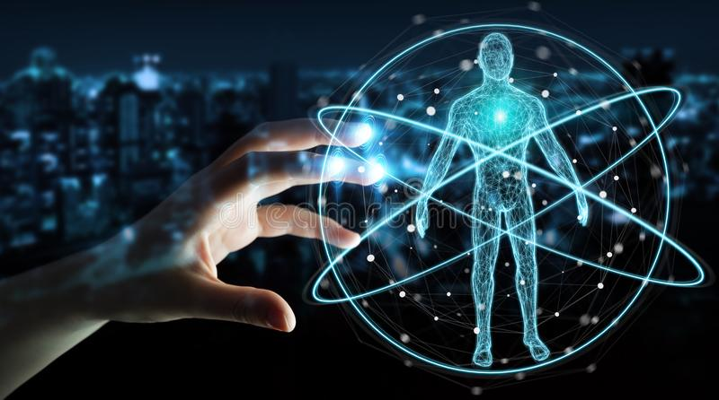 Businessman using digital x-ray human body scan interface 3D rendering. Businessman on blurred background using digital x-ray human body scan interface 3D royalty free illustration