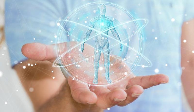 Businessman using digital x-ray human body scan interface 3D rendering. Businessman on blurred background using digital x-ray human body scan interface 3D stock illustration