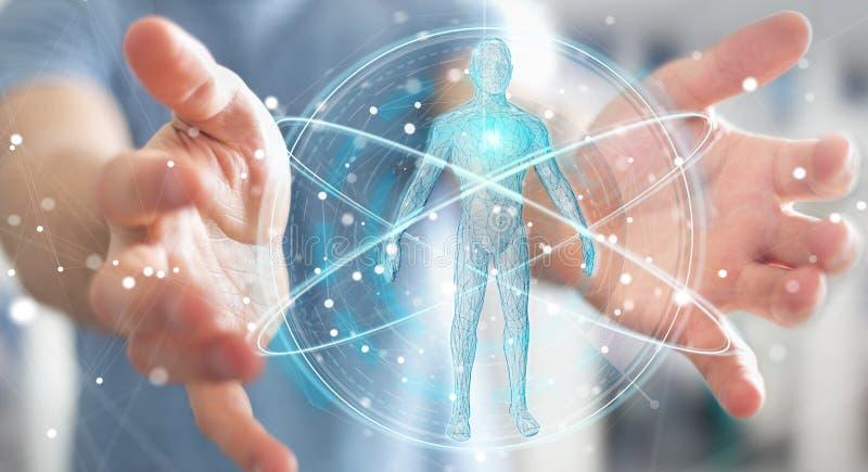 Businessman using digital x-ray human body scan interface 3D ren. Businessman on blurred background using digital x-ray human body scan interface 3D rendering stock illustration