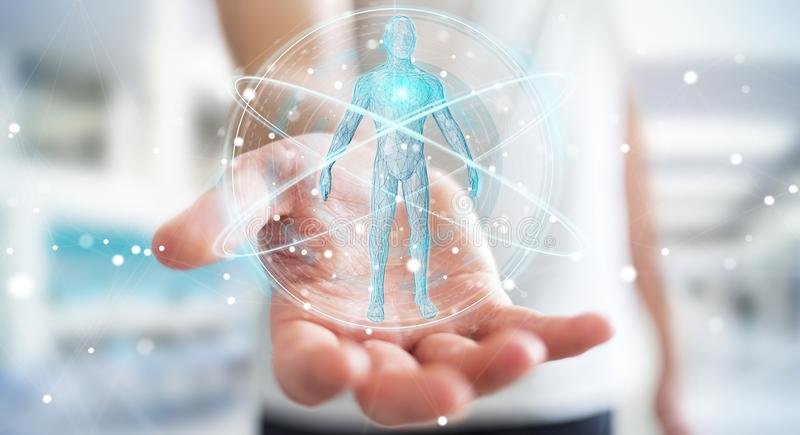 Businessman using digital x-ray human body scan interface 3D rendering. Businessman on blurred background using digital x-ray human body scan interface 3D vector illustration
