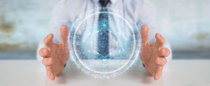 Businessman using digital sphere connection hologram 3D renderin. Businessman on blurred background using digital sphere connection hologram 3D rendering royalty free illustration