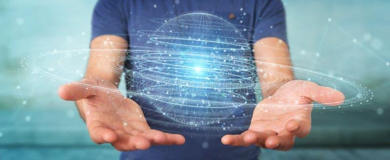 Businessman using digital sphere connection hologram 3D rendering. Businessman on blurred background using digital sphere connection hologram 3D rendering royalty free illustration