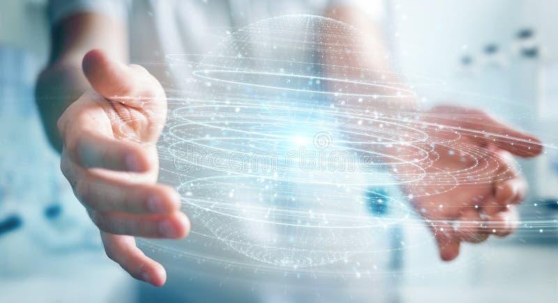 Businessman using digital sphere connection hologram 3D rendering. Businessman on blurred background using digital sphere connection hologram 3D rendering stock illustration