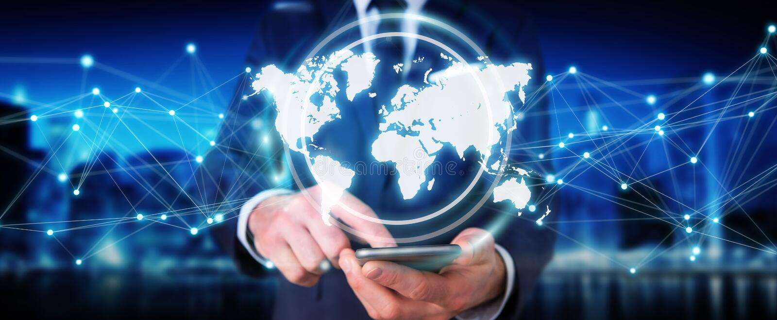 Businessman using digital world map interface 3D rendering. Businessman on blurred background using digital world map interface 3D rendering royalty free illustration