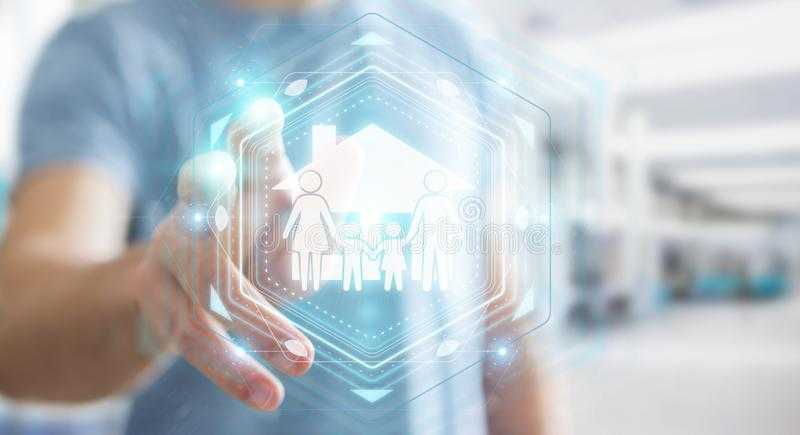Businessman using family care insurance application 3D rendering. Businessman on blurred background using family care insurance application 3D rendering vector illustration