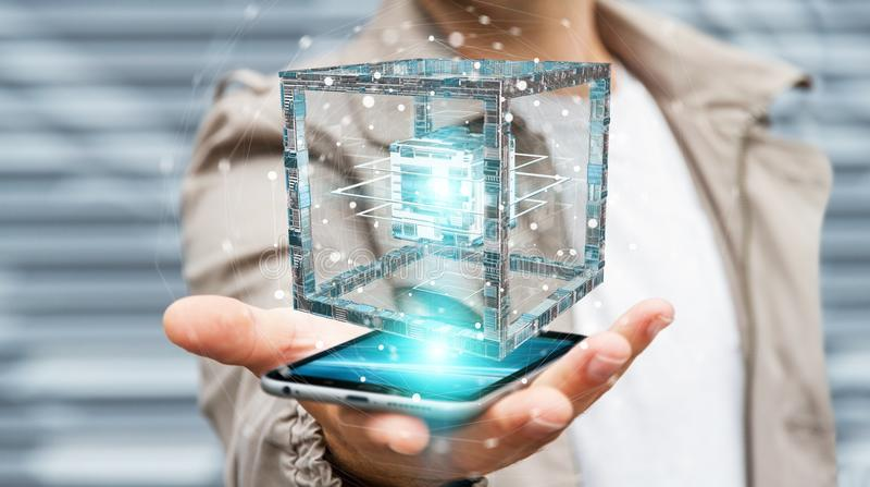 Businessman using futuristic cube textured object 3D rendering. Businessman on blurred background using futuristic cube textured object 3D rendering stock illustration