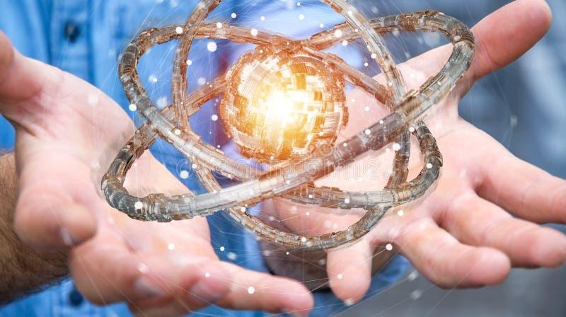 Businessman using futuristic torus textured object 3D rendering. Businessman on blurred background using futuristic torus textured object 3D rendering royalty free illustration
