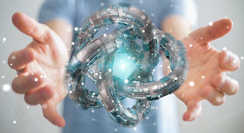 Businessman using futuristic torus textured object 3D rendering. Businessman on blurred background using futuristic torus textured object 3D rendering stock illustration