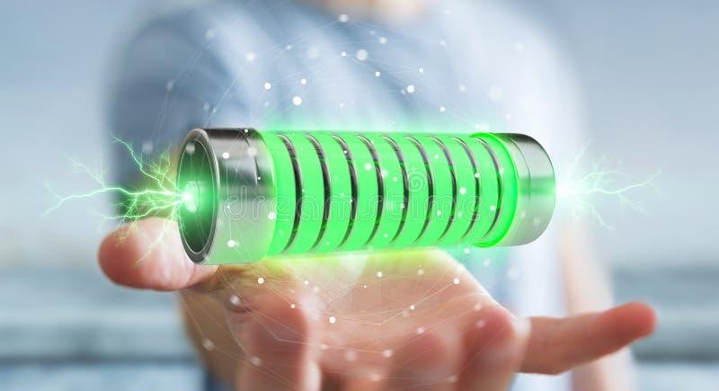 Businessman using green battery with lightnings 3D rendering vector illustration