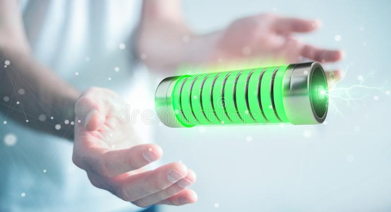 Businessman using green battery with lightnings 3D rendering royalty free illustration