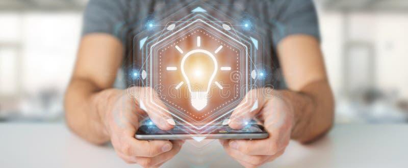 Businessman using lightbulb idea interface 3D rendering royalty free illustration
