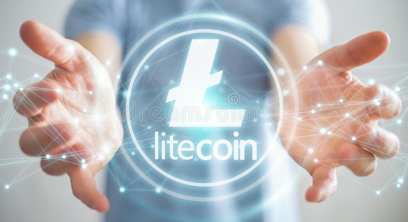 Businessman using litecoins cryptocurrency 3D rendering. Businessman on blurred background using litecoins cryptocurrency 3D rendering stock illustration