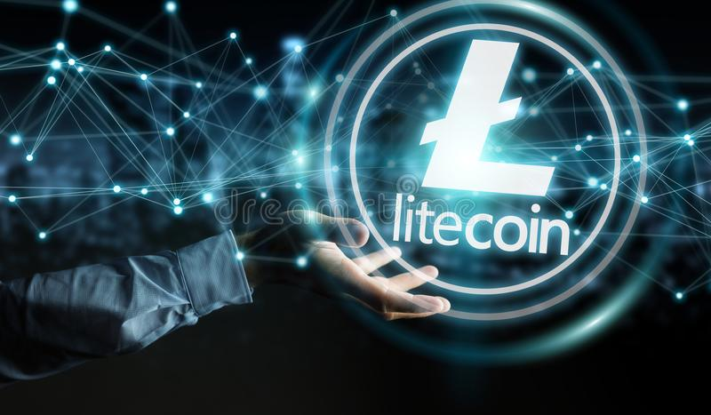 Businessman using litecoins cryptocurrency 3D rendering. Businessman on blurred background using litecoins cryptocurrency 3D rendering royalty free illustration