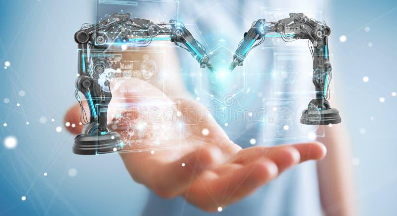 Businessman using robotics arms with digital screen 3D rendering vector illustration