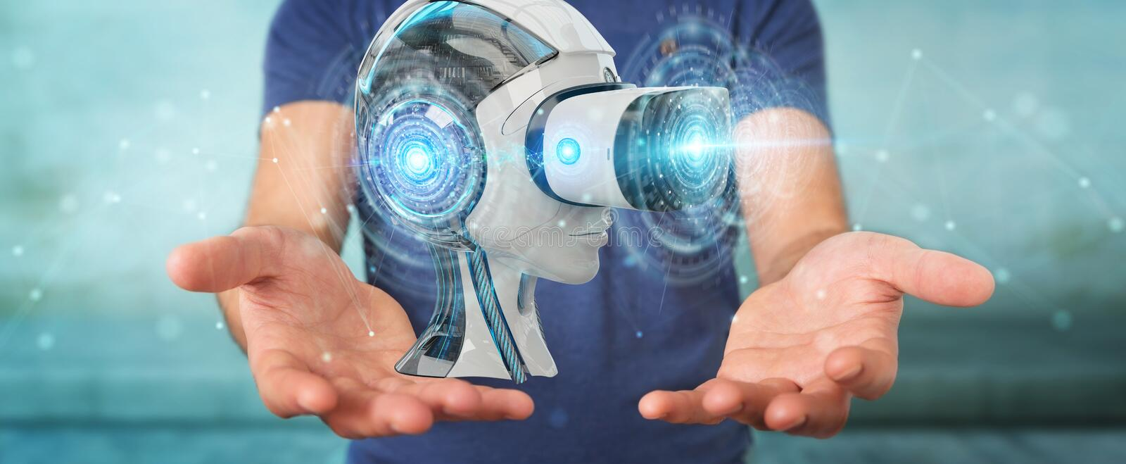 Businessman using virtual reality and artificial intelligence 3D rendering. Businessman on blurred background using virtual reality and artificial intelligence vector illustration