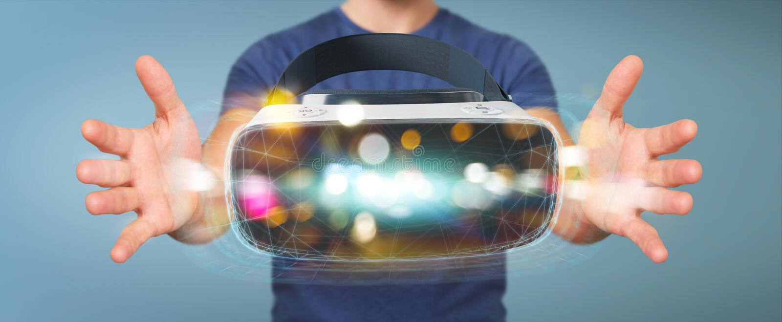 Businessman using virtual reality glasses technology 3D rendering. Businessman on blurred background using virtual reality glasses technology 3D rendering stock illustration