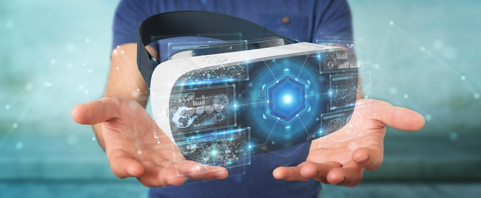Businessman using virtual reality glasses technology 3D rendering. Businessman on blurred background using virtual reality glasses technology 3D rendering vector illustration