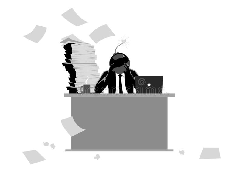 Businessman with bomb head ready to explode royalty free illustration