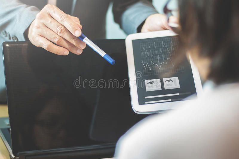 Businessman or boss complain to Businesswoman or employee at off stock image