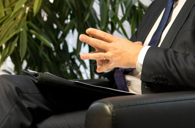 Businessman boss or politician giving interview. Close up shot royalty free stock photo