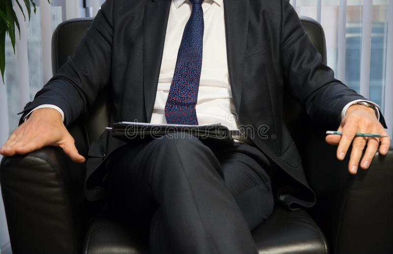 Businessman boss or politician giving interview. Front view. Businessman boss or politician giving interview. Front view close up shot royalty free stock photos